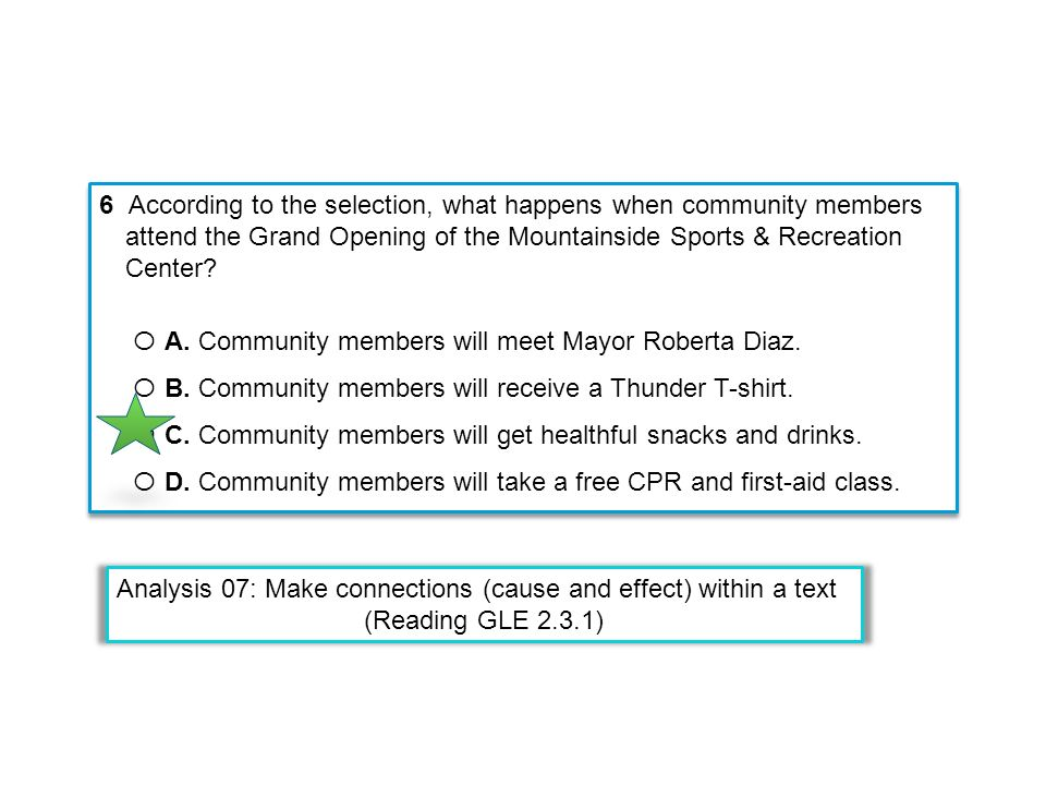 6 According to the selection, what happens when community members attend the Grand Opening of the Mountainside Sports & Recreation Center? Ο A. Commun