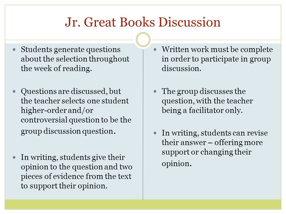 Jr. Great Books Discussion Students generate questions about the selection throughout the week of reading. Questions are discussed, but the teacher se