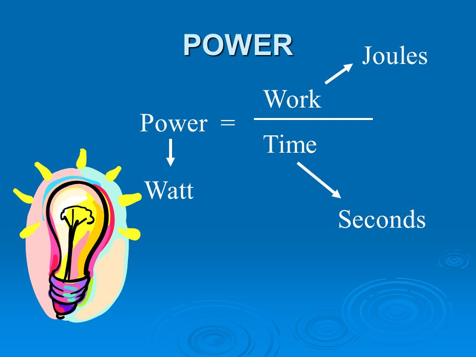 POWER Power = Work Time Watt Joules Seconds