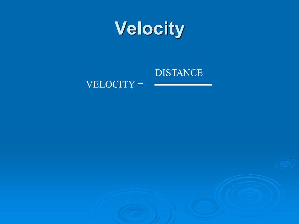 Velocity VELOCITY = DISTANCE