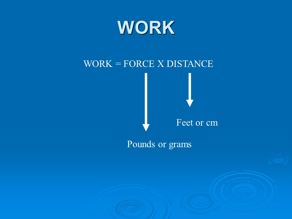 WORK WORK = FORCE X DISTANCE Feet or cm Pounds or grams