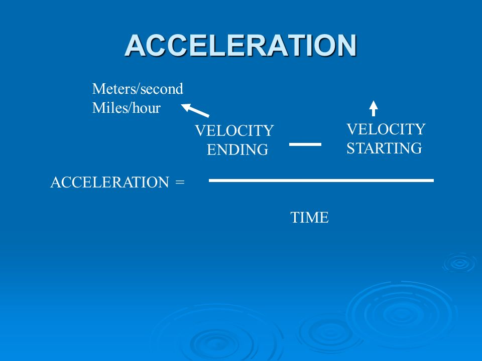 ACCELERATION ACCELERATION = VELOCITY ENDING VELOCITY STARTING TIME Meters/second Miles/hour