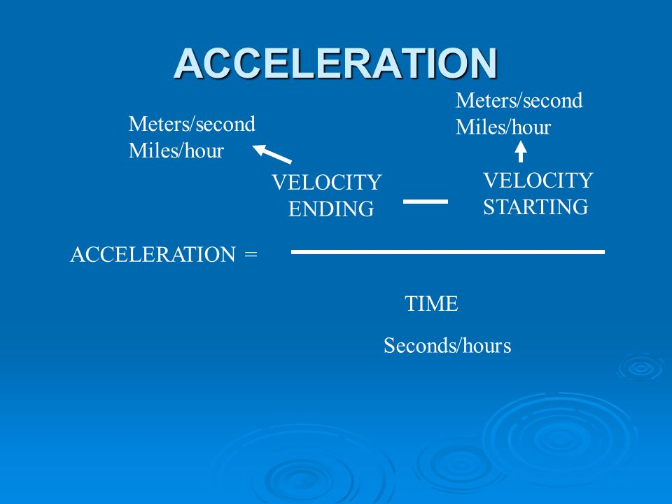 ACCELERATION ACCELERATION = VELOCITY ENDING VELOCITY STARTING TIME Meters/second Miles/hour Meters/second Miles/hour Seconds/hours