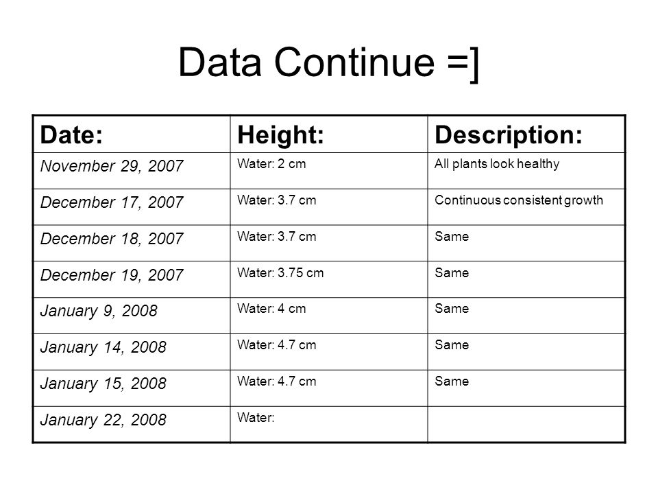 Data Continue =] Date:Height:Description: November 29, 2007 Water: 2 cmAll plants look healthy December 17, 2007 Water: 3.7 cmContinuous consistent gr