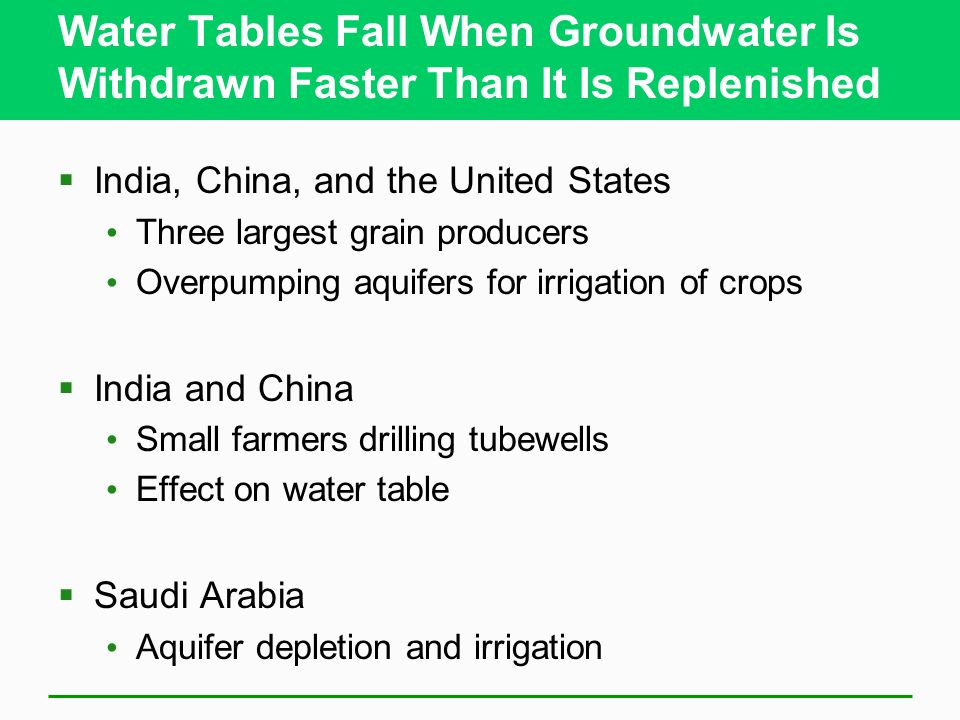 Water Tables Fall When Groundwater Is Withdrawn Faster Than It Is Replenished India, China, and the United States Three largest grain producers Overpu