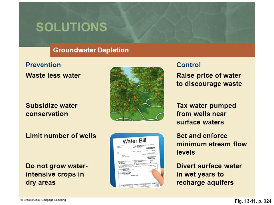 Fig. 13-11, p. 324 SOLUTIONS Groundwater Depletion PreventionControl Waste less waterRaise price of water to discourage waste Subsidize water conserva