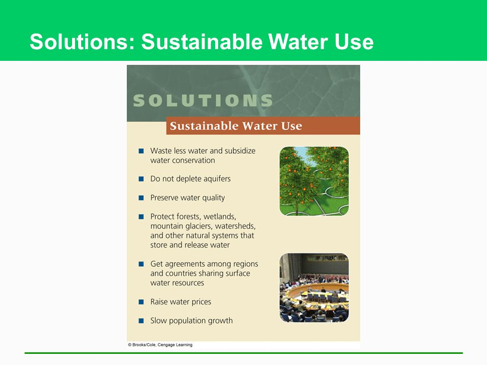 Solutions: Sustainable Water Use