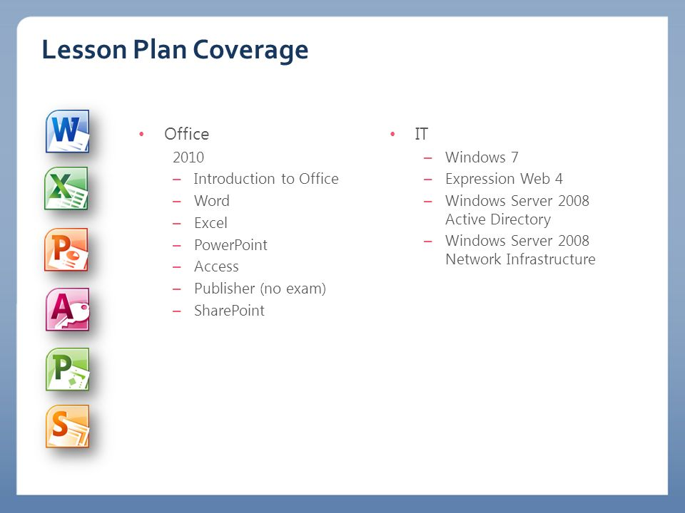 Lesson Plan Coverage Office 2010 – Introduction to Office – Word – Excel – PowerPoint – Access – Publisher (no exam) – SharePoint IT – Windows 7 – Exp