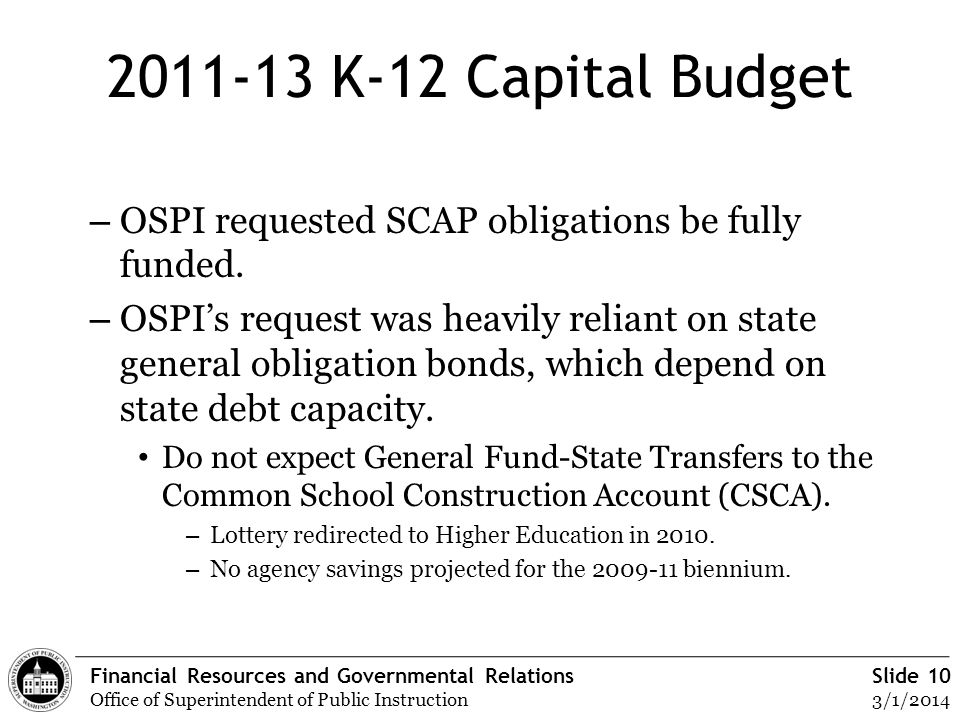 Financial Resources and Governmental Relations Office of Superintendent of Public Instruction Slide 10 3/1/2014 2011-13 K-12 Capital Budget – OSPI req