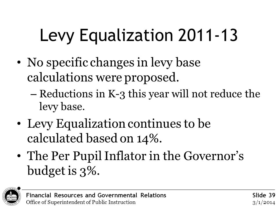 Financial Resources and Governmental Relations Office of Superintendent of Public Instruction Slide 39 3/1/2014 Levy Equalization 2011-13 No specific