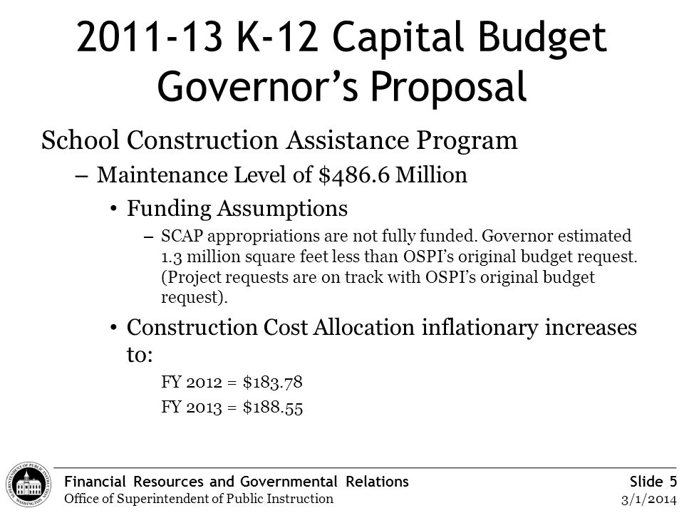 Financial Resources and Governmental Relations Office of Superintendent of Public Instruction Slide 5 3/1/2014 2011-13 K-12 Capital Budget Governors P