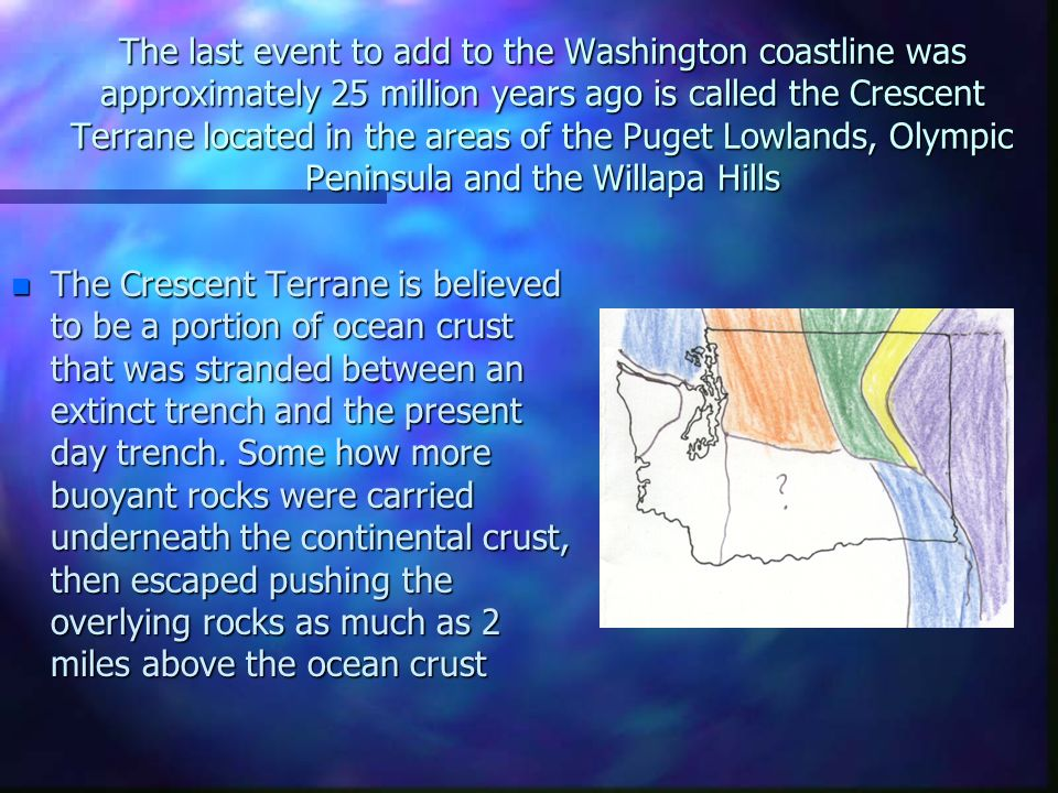 The last event to add to the Washington coastline was approximately 25 million years ago is called the Crescent Terrane located in the areas of the Pu