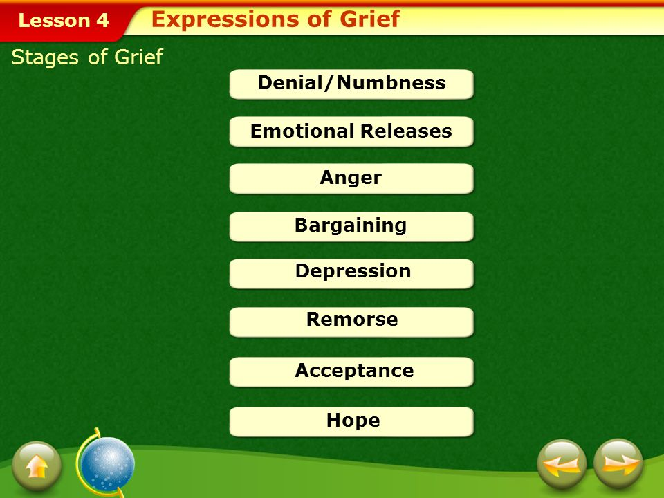 Lesson 4 The grieving process occurs during the grief response. The purpose of this process is to reach closure, or acceptance of a loss. The stages o