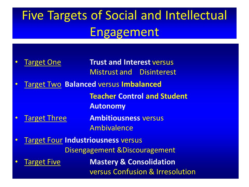 Five Targets of Social and Intellectual Engagement Target One Trust and Interest versus Mistrust and Disinterest Target Two Balanced versus Imbalanced Teacher Control and Student Autonomy Target Three Ambitiousness versus Ambivalence Target Four Industriousness versus Disengagement &Discouragement Target Five Mastery & Consolidation versus Confusion & Irresolution