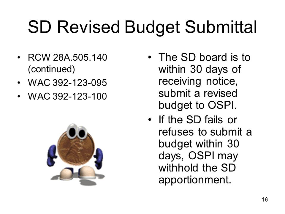 SD Revised Budget Submittal RCW 28A.505.140 (continued) WAC 392-123-095 WAC 392-123-100 The SD board is to within 30 days of receiving notice, submit a revised budget to OSPI.