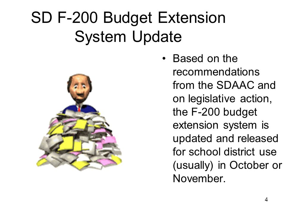 SD F-200 Budget Extension System Update Based on the recommendations from the SDAAC and on legislative action, the F-200 budget extension system is updated and released for school district use (usually) in October or November.