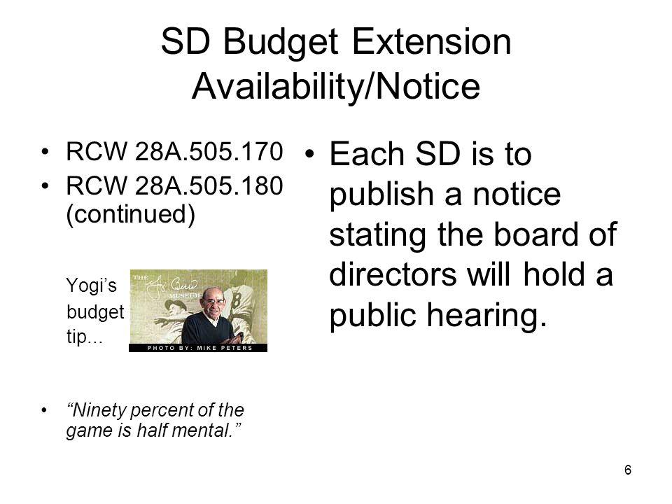 SD Budget Extension Requirements WAC 392-123-071 WAC 392-123-072 WAC 392-123-115 Yogis budget tip...
