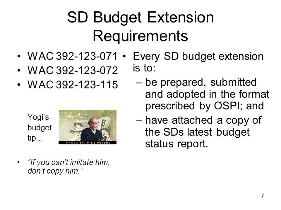 Budgeting Receivables WAC 392-123-060 WAC 392-123-065 Yogis budget tip...