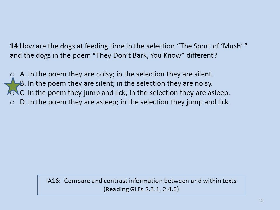14 How are the dogs at feeding time in the selection The Sport of Mush and the dogs in the poem They Dont Bark, You Know different? o A. In the poem t