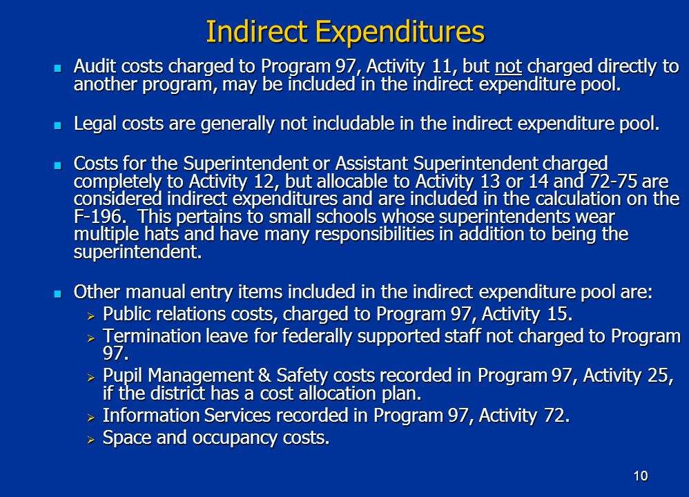 10 Indirect Expenditures Audit costs charged to Program 97, Activity 11, but not charged directly to another program, may be included in the indirect