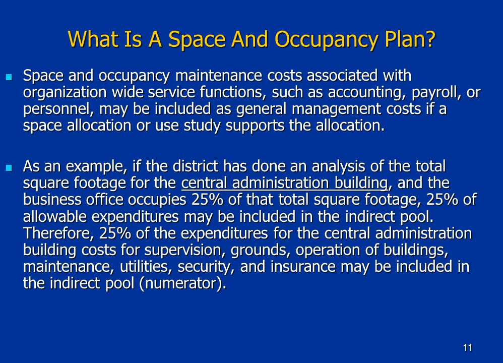 11 What Is A Space And Occupancy Plan.