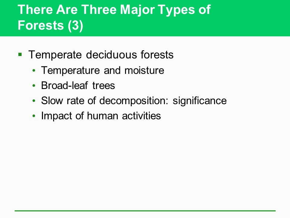There Are Three Major Types of Forests (3) Temperate deciduous forests Temperature and moisture Broad-leaf trees Slow rate of decomposition: significance Impact of human activities