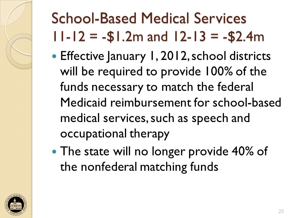 School-Based Medical Services 11-12 = -$1.2m and 12-13 = -$2.4m Effective January 1, 2012, school districts will be required to provide 100% of the funds necessary to match the federal Medicaid reimbursement for school-based medical services, such as speech and occupational therapy The state will no longer provide 40% of the nonfederal matching funds 25
