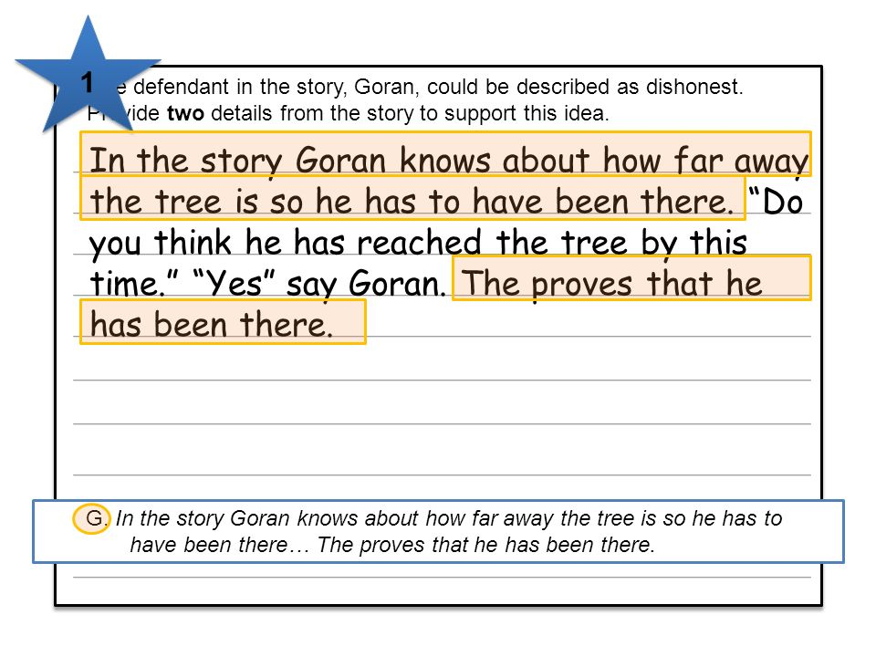 5 The defendant in the story, Goran, could be described as dishonest. Provide two details from the story to support this idea. 5 The defendant in the