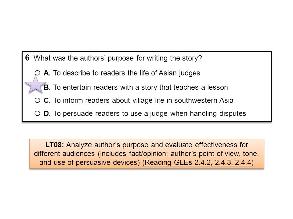 6 What was the authors purpose for writing the story? Ο A. To describe to readers the life of Asian judges Ο B. To entertain readers with a story that