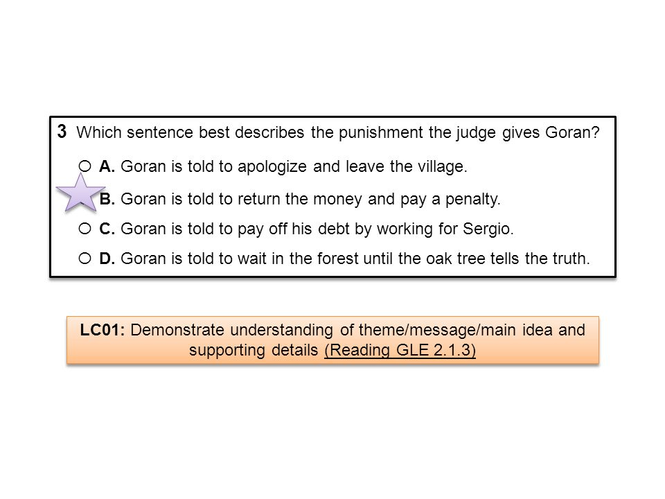 3 Which sentence best describes the punishment the judge gives Goran? Ο A. Goran is told to apologize and leave the village. Ο B. Goran is told to ret