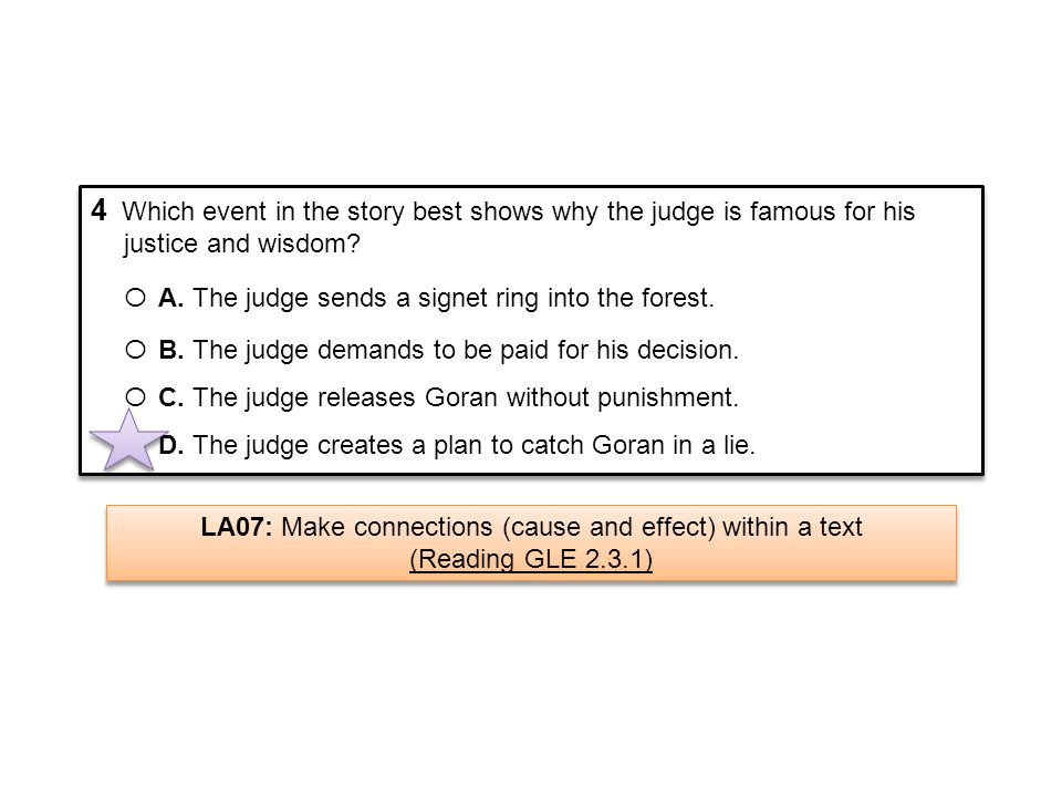 4 Which event in the story best shows why the judge is famous for his justice and wisdom? Ο A. The judge sends a signet ring into the forest. Ο B. The