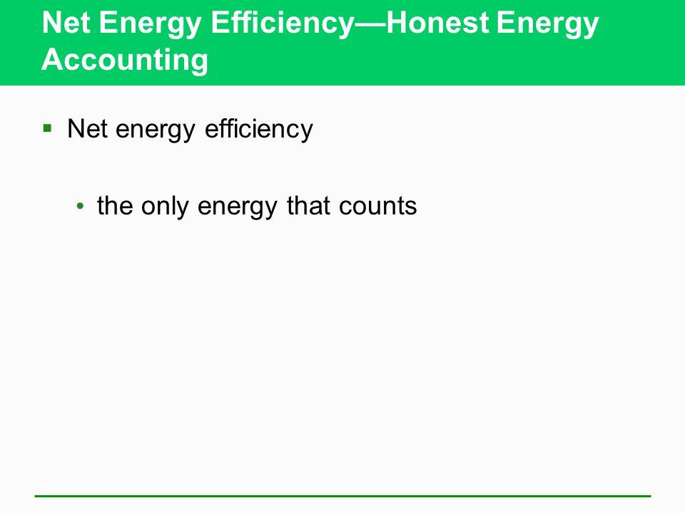 Net Energy EfficiencyHonest Energy Accounting Net energy efficiency the only energy that counts