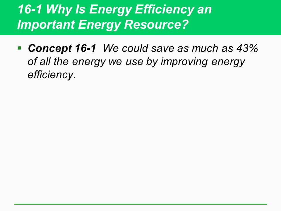 16-1 Why Is Energy Efficiency an Important Energy Resource.