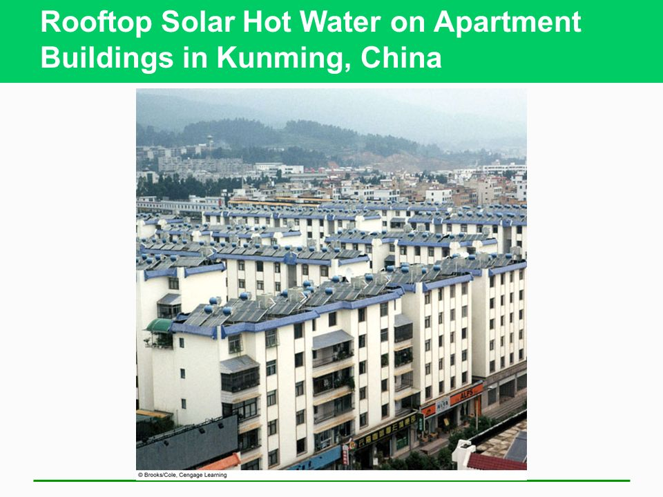 Rooftop Solar Hot Water on Apartment Buildings in Kunming, China