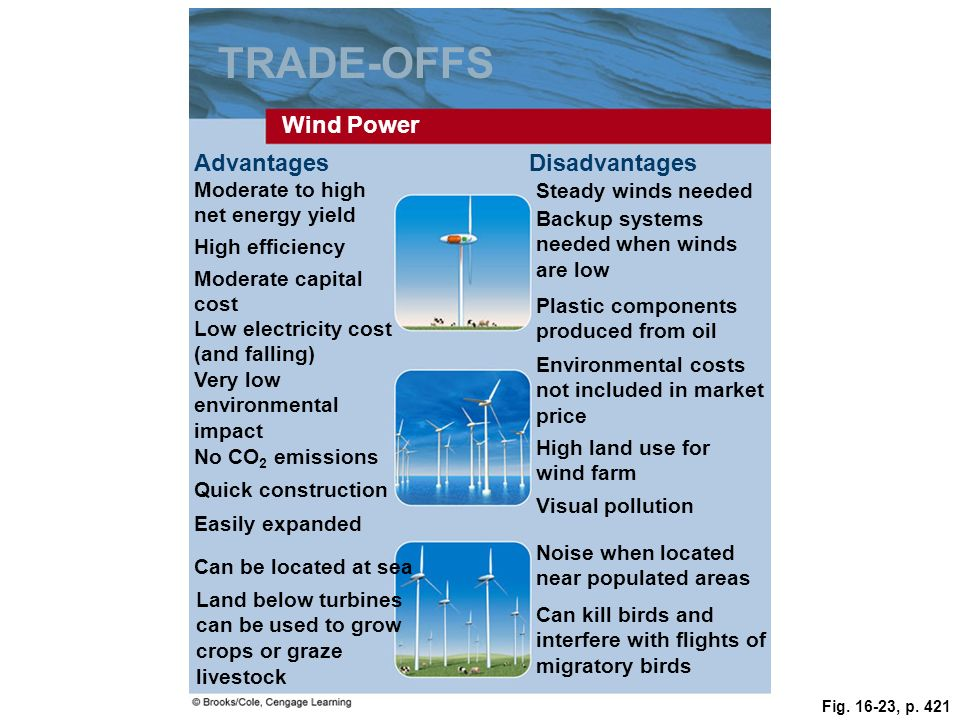 Fig. 16-23, p. 421 TRADE-OFFS Wind Power AdvantagesDisadvantages Moderate to high net energy yield Steady winds needed High efficiency Backup systems