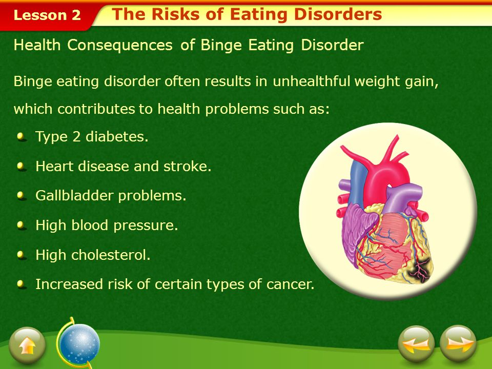 Lesson 2 People with binge eating disorder consume huge amounts of food at one time but do not try to purge.binge eating disorder This disorder may si