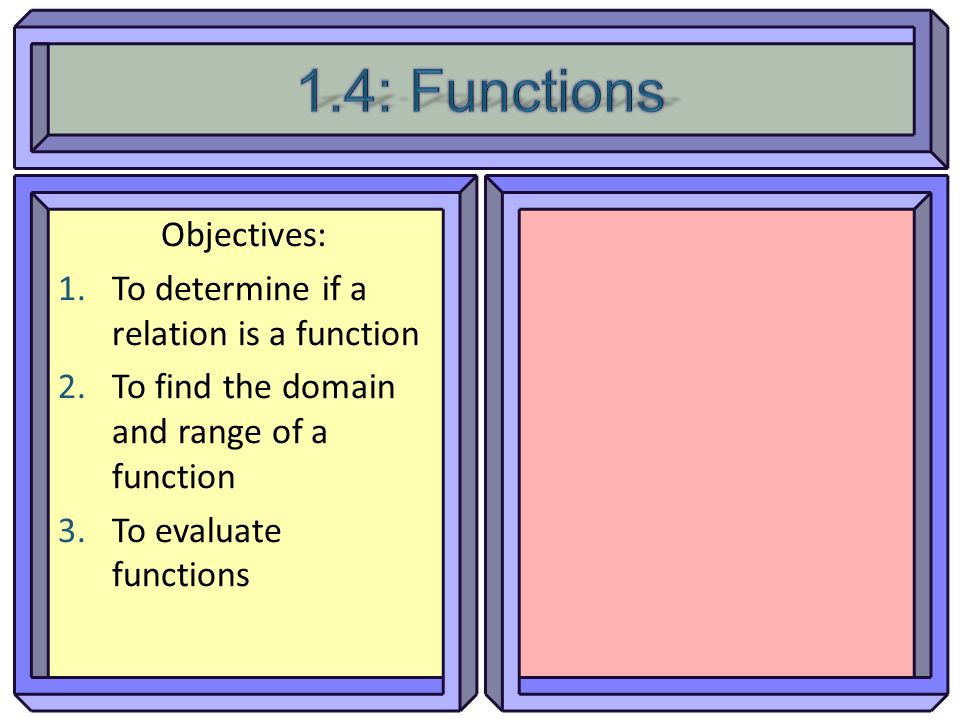 Objectives: 1.To determine if a relation is a function 2.To find the domain and range of a function 3.To evaluate functions