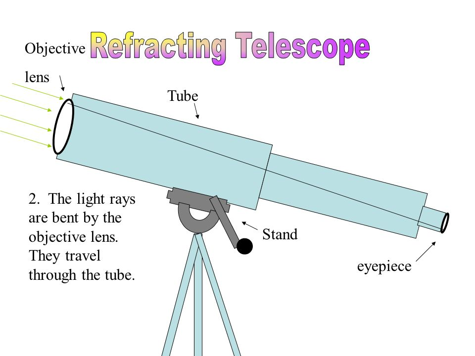 Tube Stand eyepiece Objective lens 2. The light rays are bent by the objective lens. They travel through the tube.