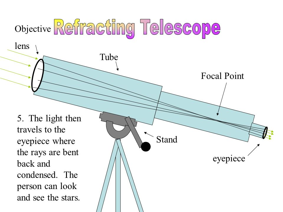 Tube Stand eyepiece Objective lens 5. The light then travels to the eyepiece where the rays are bent back and condensed. The person can look and see t