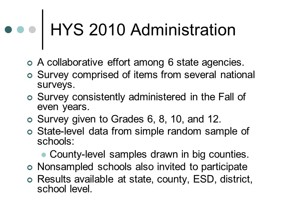 HYS 2010 Administration A collaborative effort among 6 state agencies.