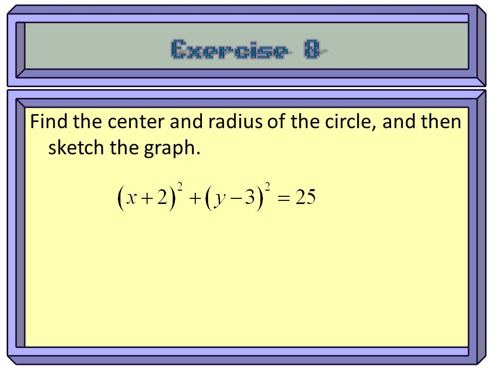 Find the center and radius of the circle, and then sketch the graph.