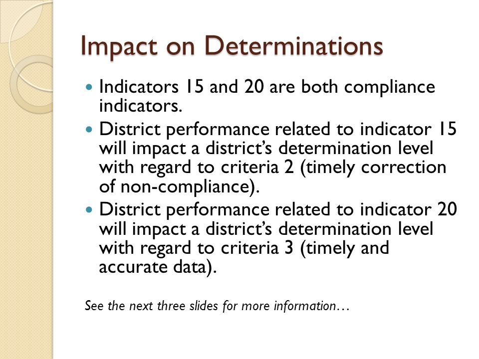 Impact on Determinations Indicators 15 and 20 are both compliance indicators. District performance related to indicator 15 will impact a districts det