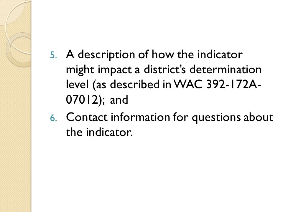 5. A description of how the indicator might impact a districts determination level (as described in WAC 392-172A- 07012); and 6. Contact information f