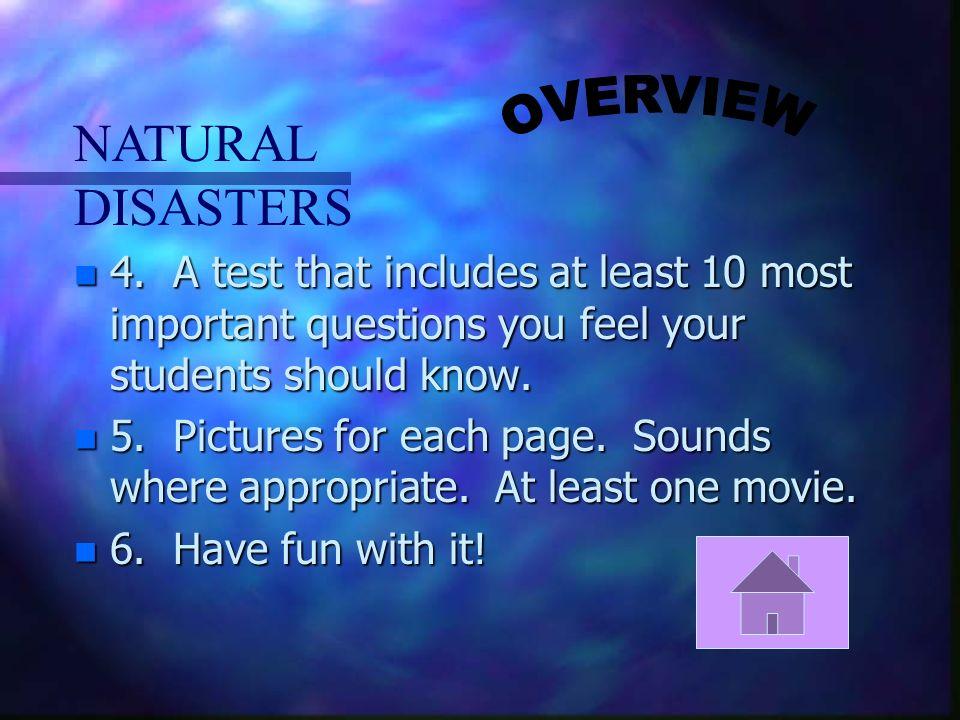 NATURAL DISASTERS n 4.