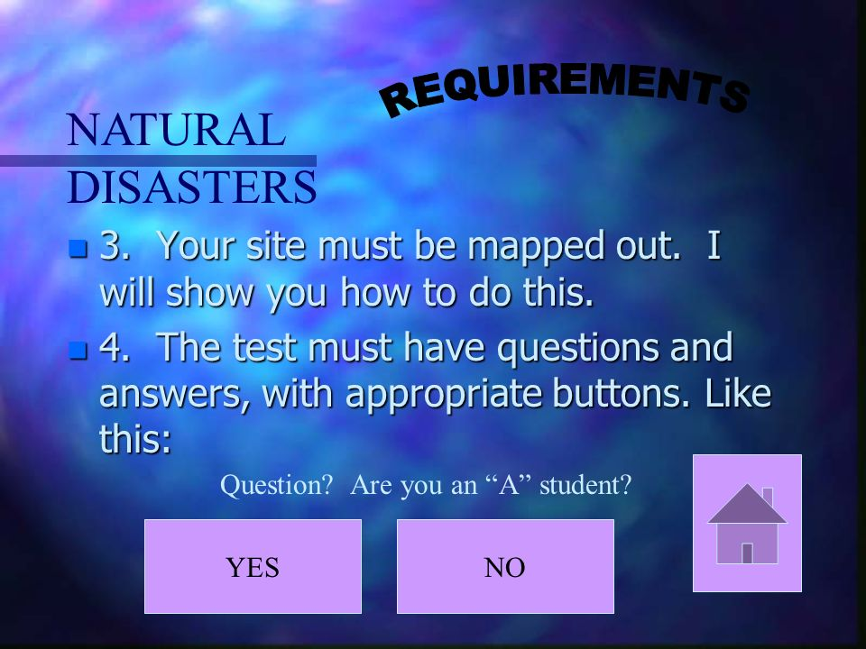 NATURAL DISASTERS n 3.Your site must be mapped out.
