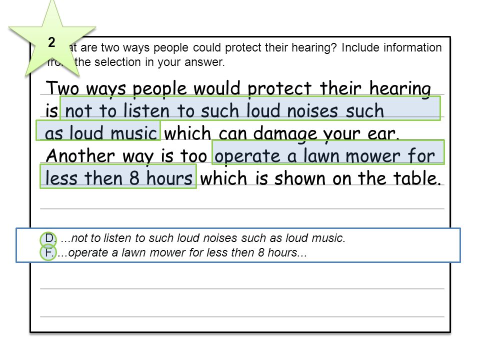 6 What are two ways people could protect their hearing? Include information from the selection in your answer. 6 What are two ways people could protec