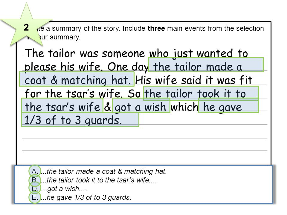 5 Write a summary of the story. Include three main events from the selection in your summary. The tailor was someone who just wanted to please his wif