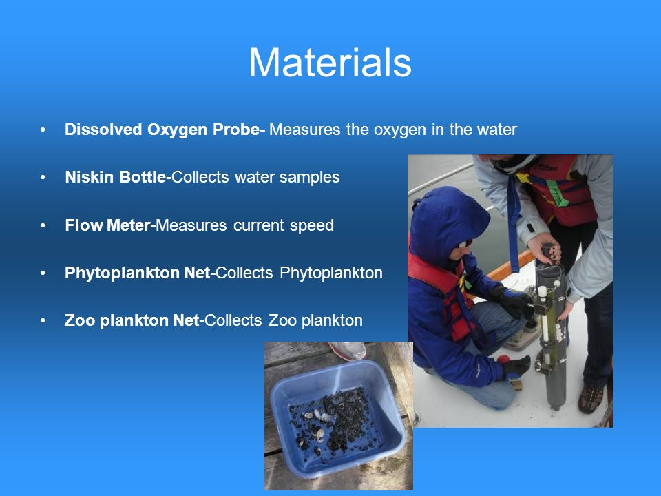 Materials Dissolved Oxygen Probe- Measures the oxygen in the water Niskin Bottle-Collects water samples Flow Meter-Measures current speed Phytoplankto