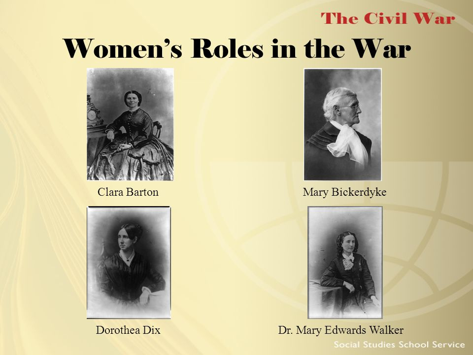 Womens Roles in the War Clara BartonMary Bickerdyke Dorothea DixDr. Mary Edwards Walker