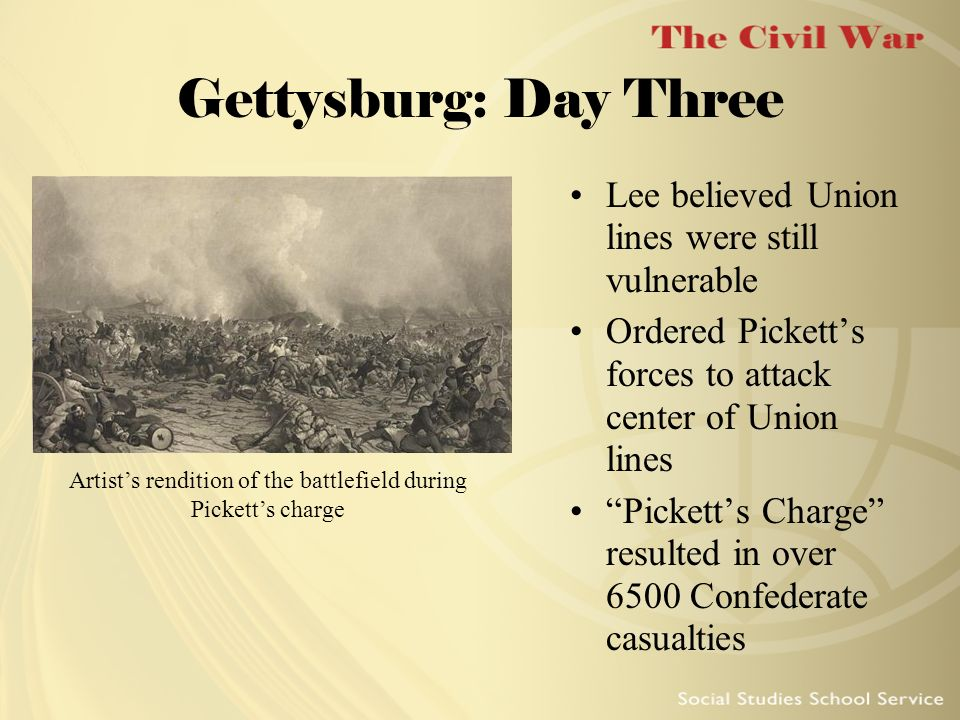 Gettysburg: Day Three Lee believed Union lines were still vulnerable Ordered Picketts forces to attack center of Union lines Picketts Charge resulted